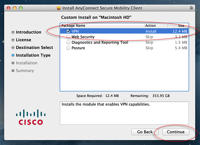How to Run Cisco AnyConnect client for VPN connectivity on Mac OS