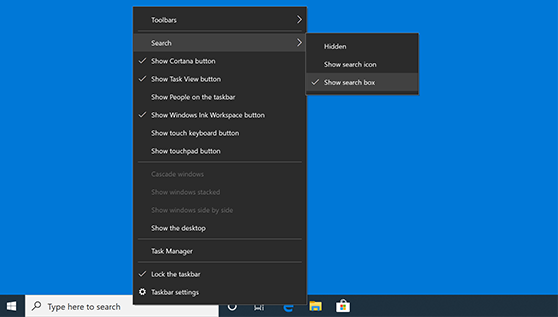 Search box is missing in Windows 10
