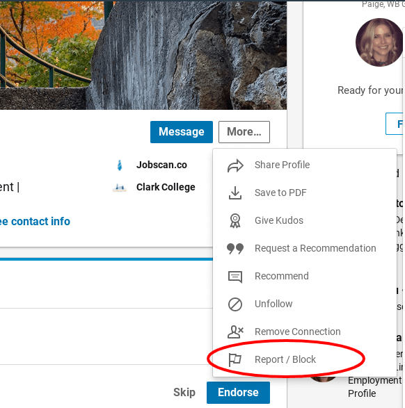 block a LinkedIn user