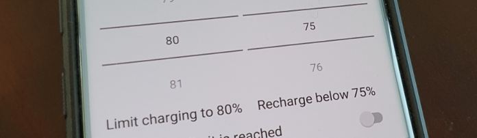 options of the battery charge limit app
