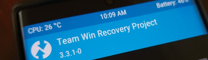 shows TWRP custom recovery installed on the galaxy note 10
