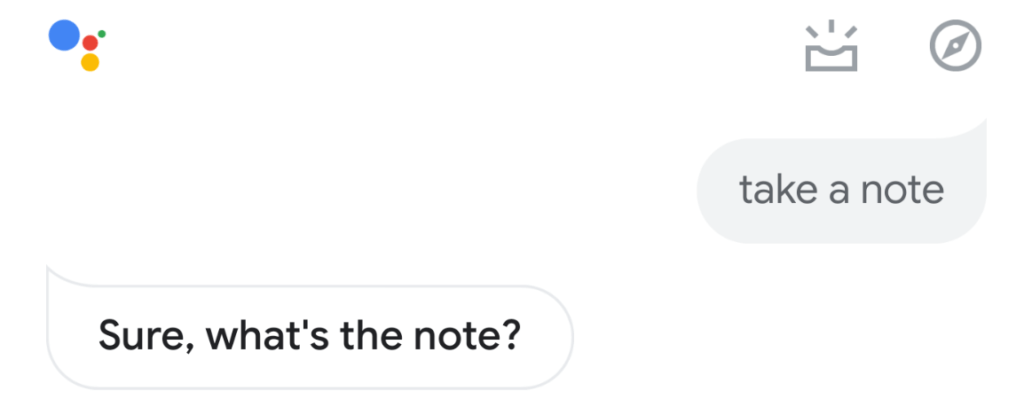 asking google assistant to take a note