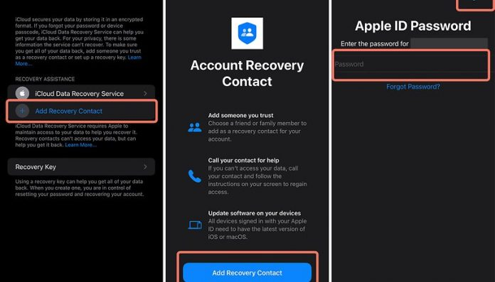 Apple ID account recovery contact
